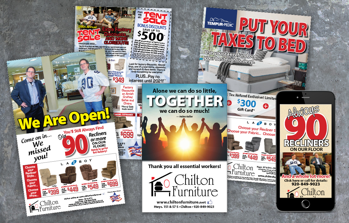 Chilton Furniture Print and Digital Display Ads